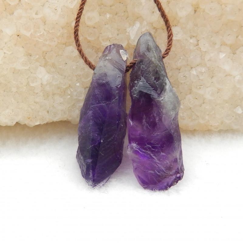30CTS Raw Amethyst Earrings, Natural Gemstone Earrings,Wholesale Jewelry G8
