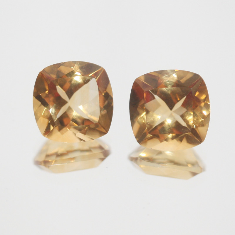 7.35Ct  Top Color Citrine Pair Faceted Square 10mm.-(SKU360)