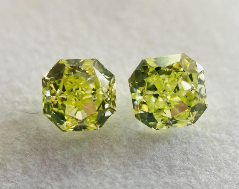 GIA 0.94 Carat Total  Weight Loose Fancy Intense Green Yellow Diamond Pair