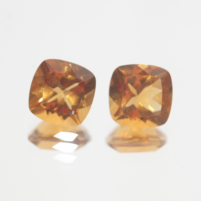 4.45Ct  Top Color Citrine Pair Faceted Square 8mm.-(SKU363)