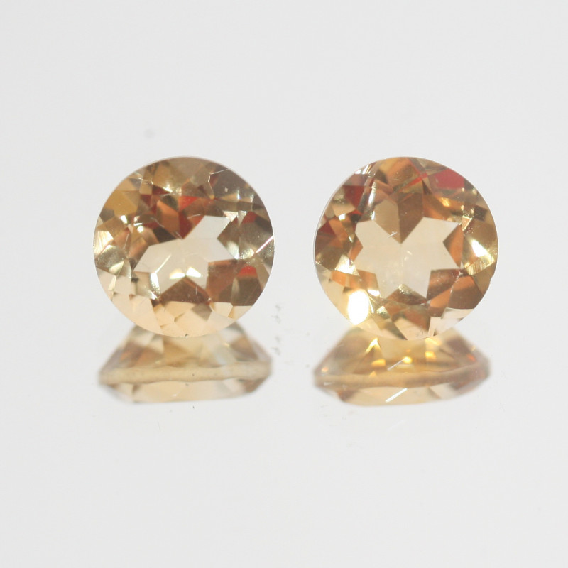 3.7Ct  Top Color Citrine Pair Faceted Round 8mm.-(SKU365)