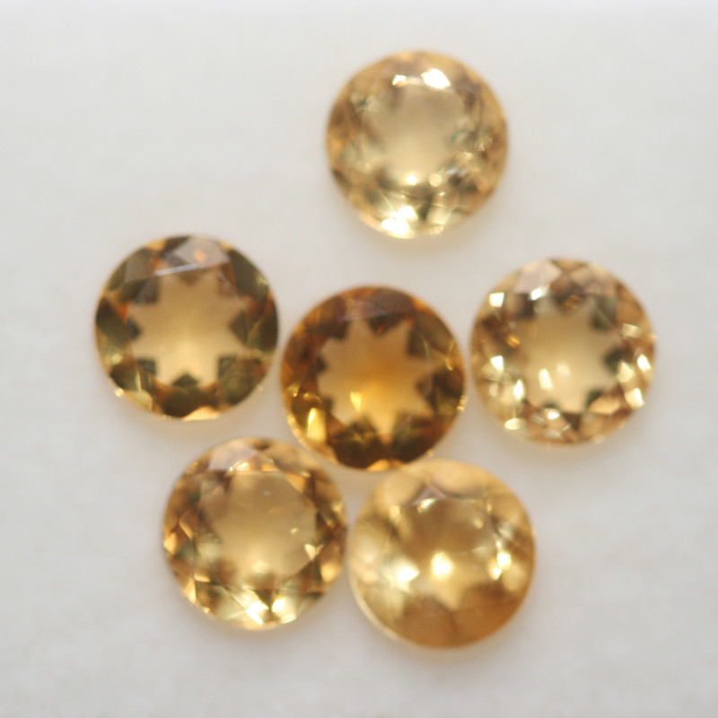 3.1Ct  Top Color Citrine Lot Faceted Round 5mm.-(6Pcs).-(SKU369)
