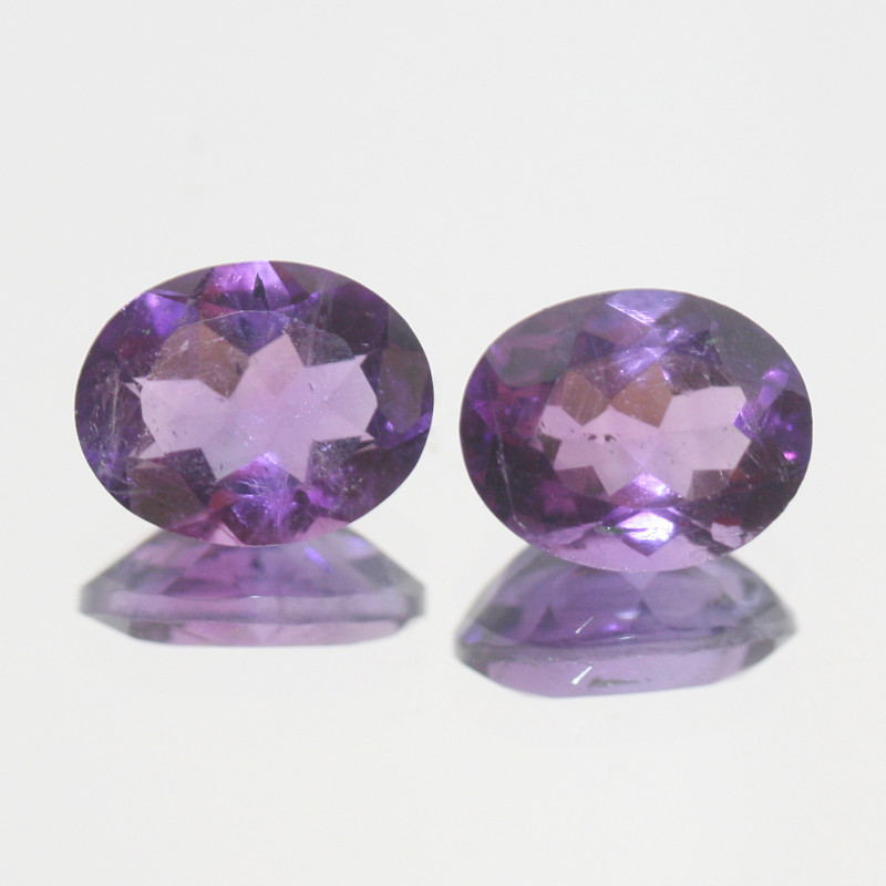 4.95 Ct Amethyst Pair Faceted Oval 10x8mm.-(SKU 374)