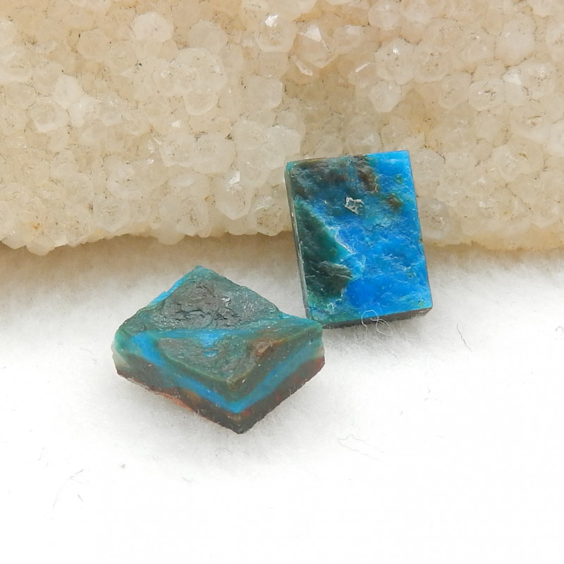 2pcs Pure Blue 8.5cts Blue Opal Cabochons, October Birthstone G816