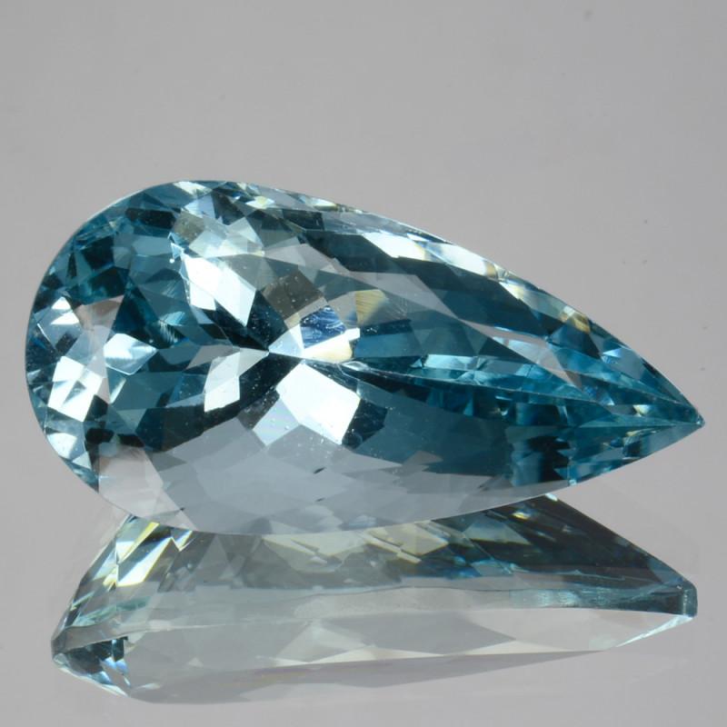 10.86 Cts Beautiful Blue Natural Aquamarine Pear Stunning Cut Brazil