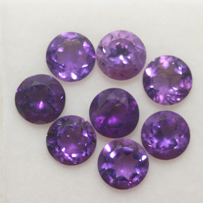 4 Ct Amethyst Lot Faceted Round 5mm.-(8Pcs).-(SKU 393)