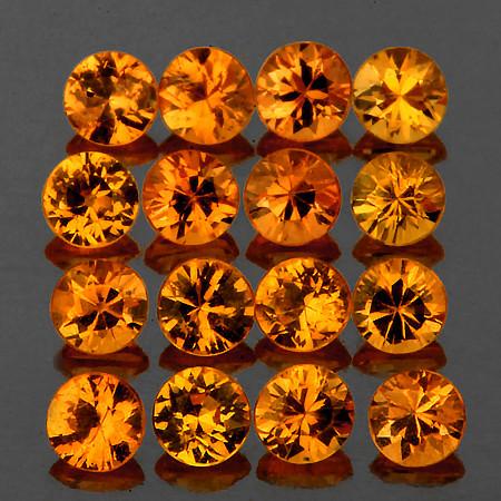 2.20 mm Round 16 pcs Intense Orange-Yellow Sapphire [VVS]