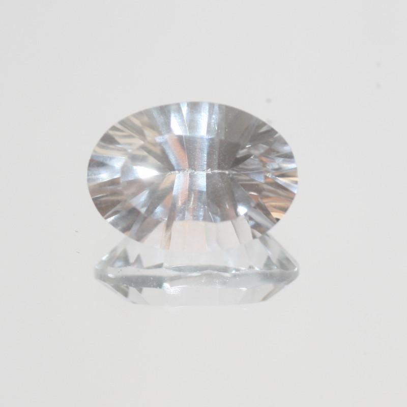 5.9 Ct Rock Crystal Quartz Faceted Oval 14x10mm.-(SKU 407)