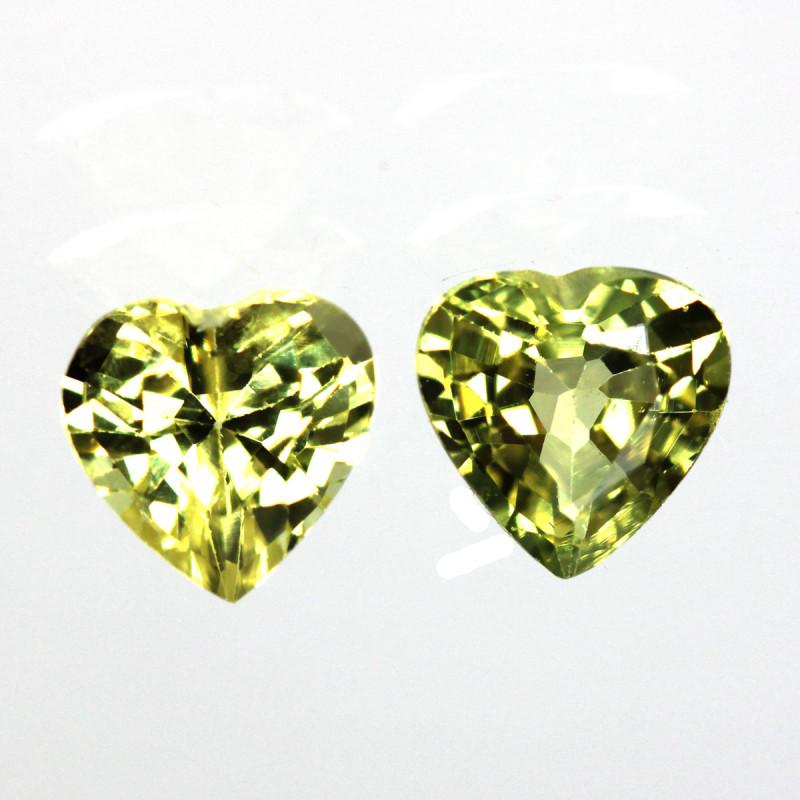 1.08cts  Matching Pair Heart Shape Natural Sapphires 2pcs