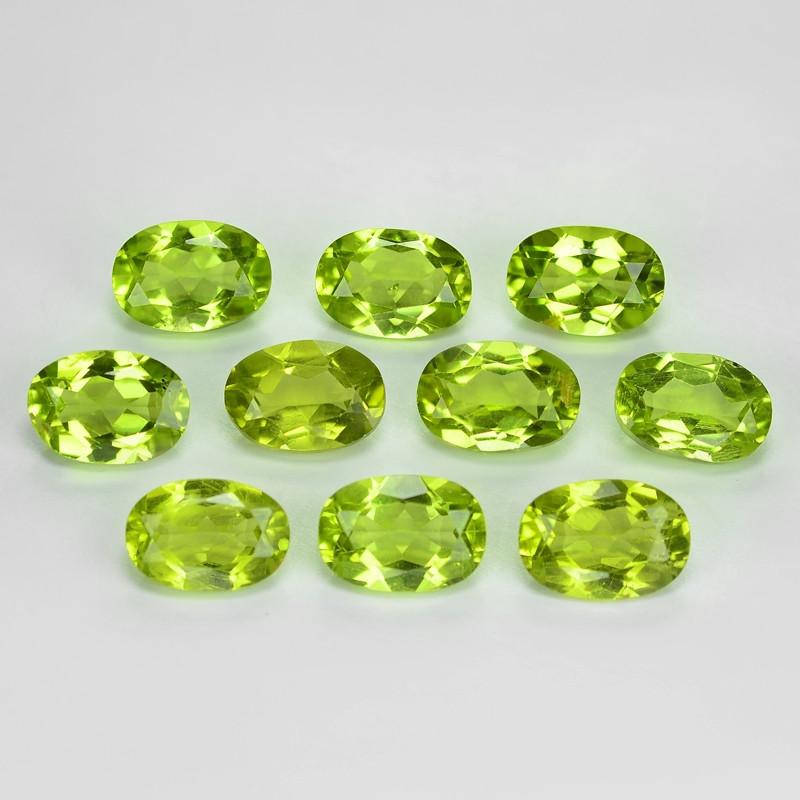 8.61 Cts 10pcs Green Color Natural Peridot Gemstones