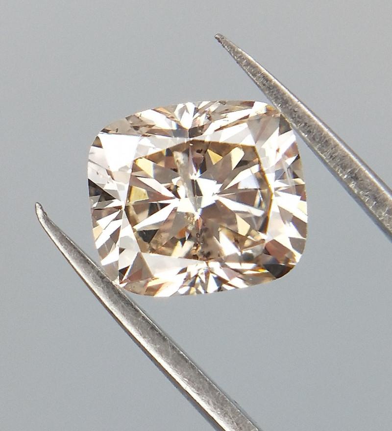 0.60 CTS , Cushion Brilliant Cut Diamond , Light Champagne Color