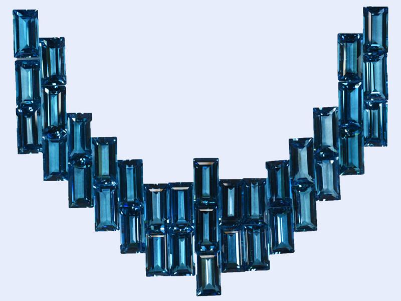 355.63Ct Natural London blue topaz Baguette 17X9mm Necklace set