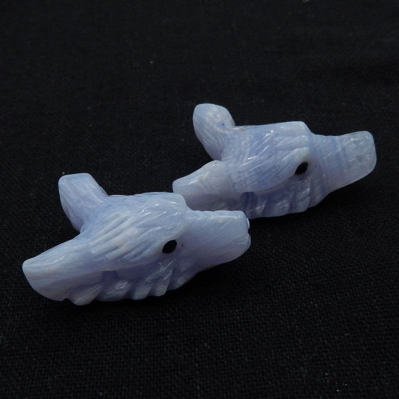 118.5cts 2pcs Carved Hand Carved Wolf Pendant ,Blue Lace Agate Wolf ,Wolf H