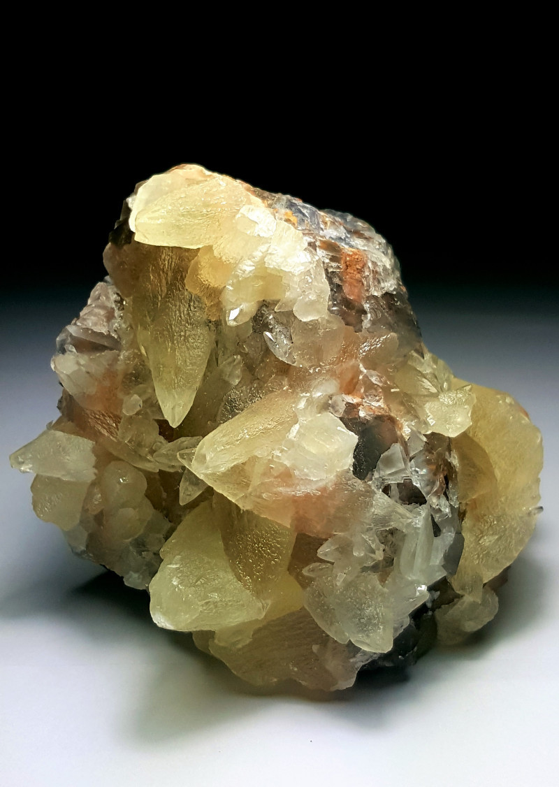 Amazing Natural color Damage free Calcite cluster combine with Fluorite 232