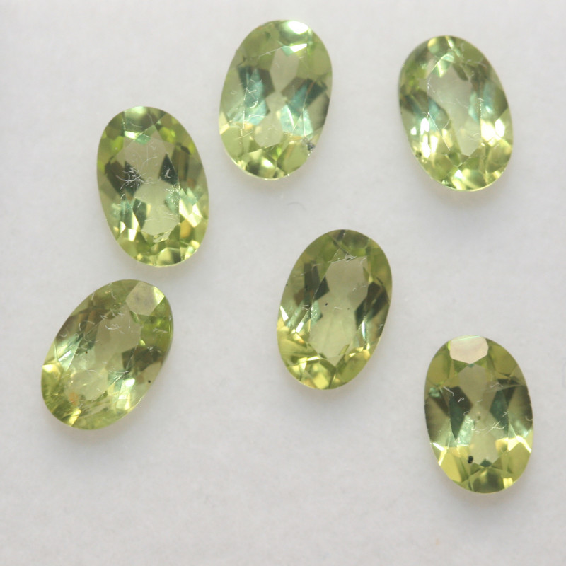 2.85 Ct Peridot Matching Lot Faceted Oval Cut 6x4mm.- Olivine Green.(SKU 42