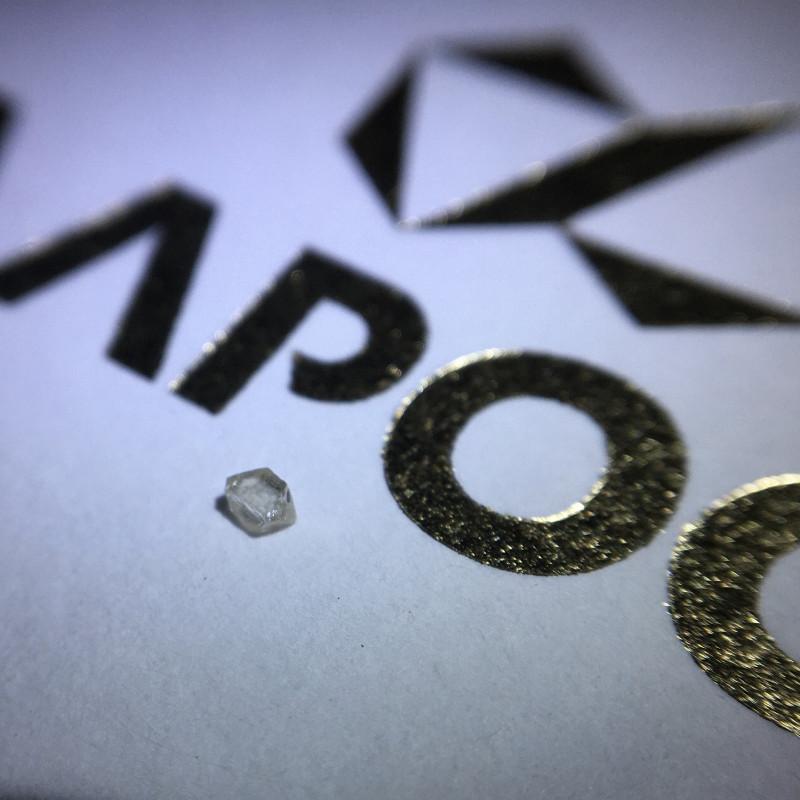 0.03 ct Si Pot Flawless K/L Elongated octahedron Rough diamond crystal