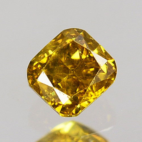 0.13 Cts Natural Untreated Diamond Fancy Yellow Cushion Cut Africa