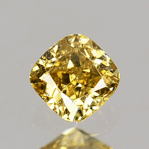 0.09 Cts Natural Untreated Diamond Fancy Yellow Cushion Cut Africa