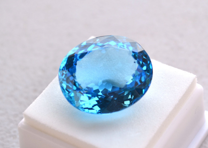41.80 Carat Oval Cut Off Swiss Blue Topaz