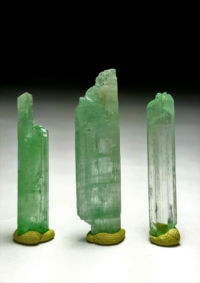 Amazing Gemmy quality 3 Hiddenite crystals 60Cts-A