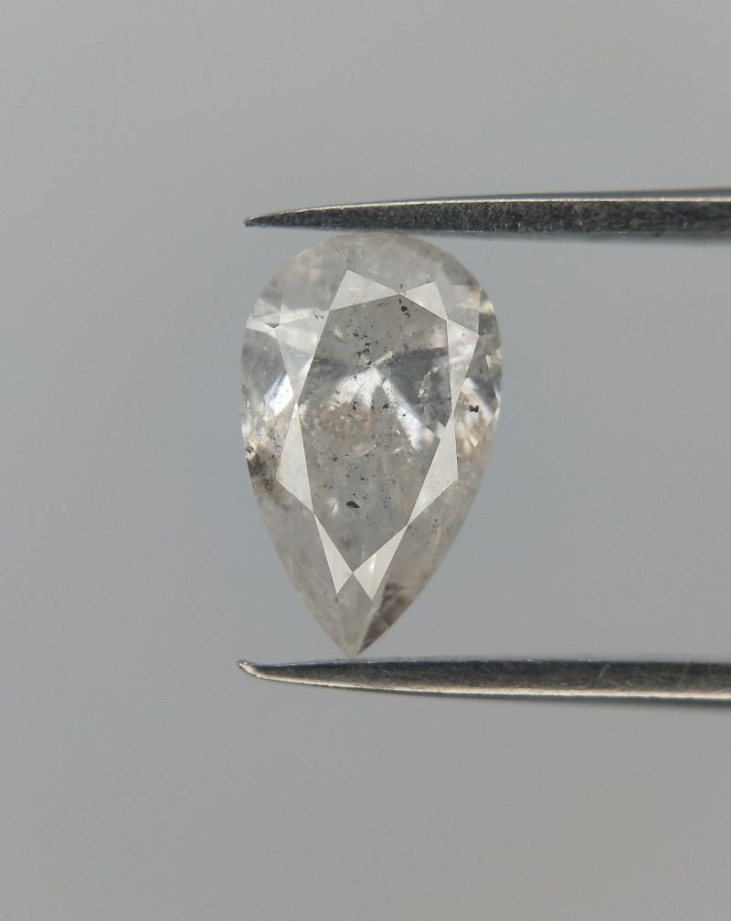 0.57 cts , Pear Brilliant Cut Diamond , White Diamond , SALT AND PEPPER