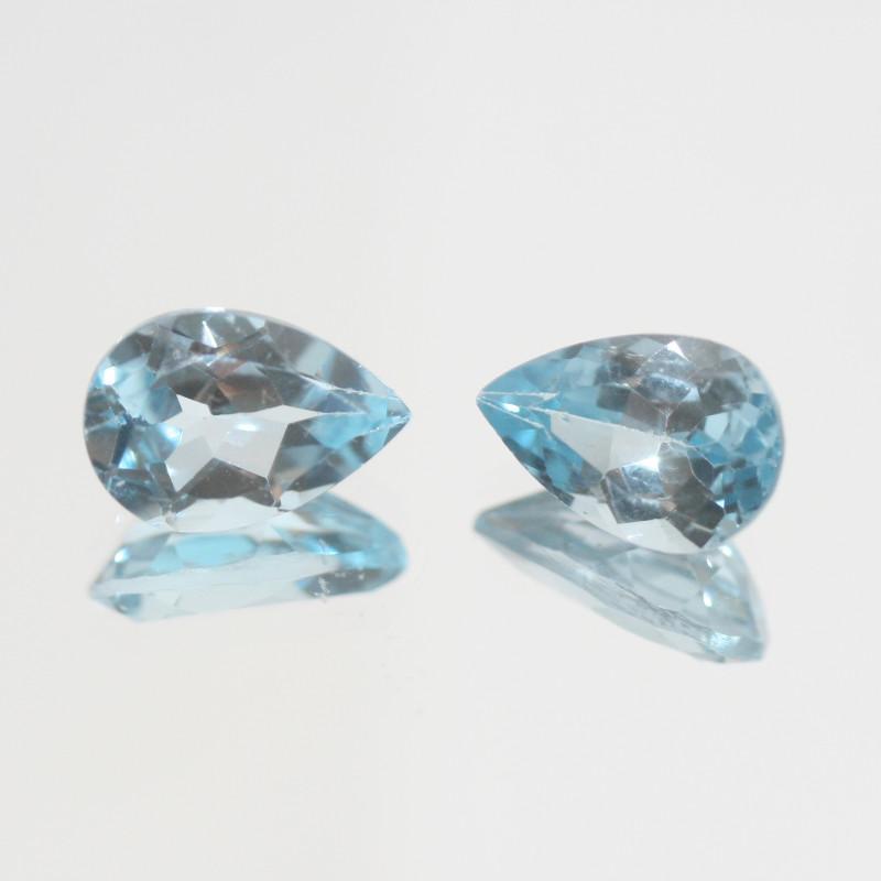 7.5 Ct Sky Blue Topaz Pair Faceted Drop 12x8mm.(SKU 433)