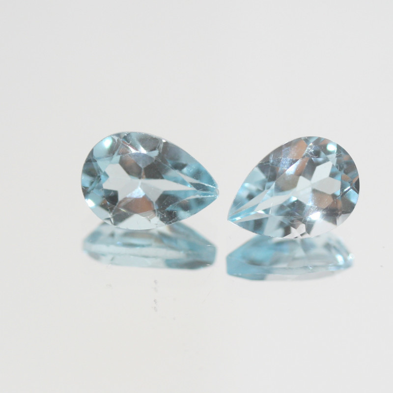 4.9 Ct Sky Blue Topaz Pair Faceted Drop 10x7mm.(SKU 434)