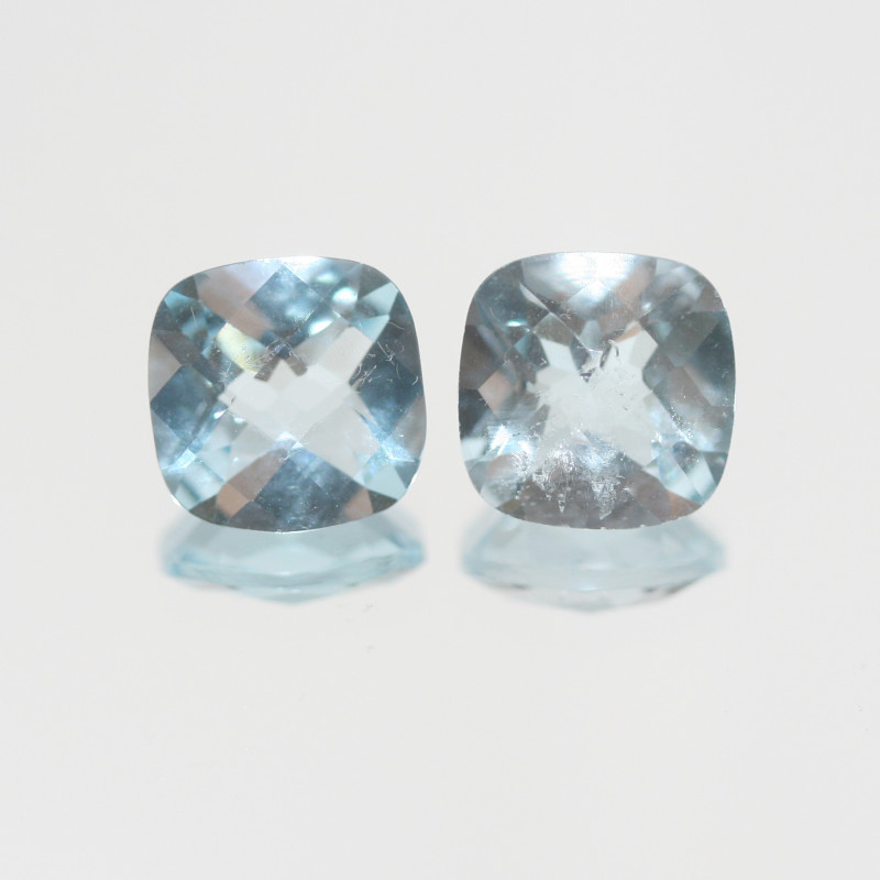 6.85 Ct Sky Blue Topaz Pair Faceted Square 9mm.(SKU 435)