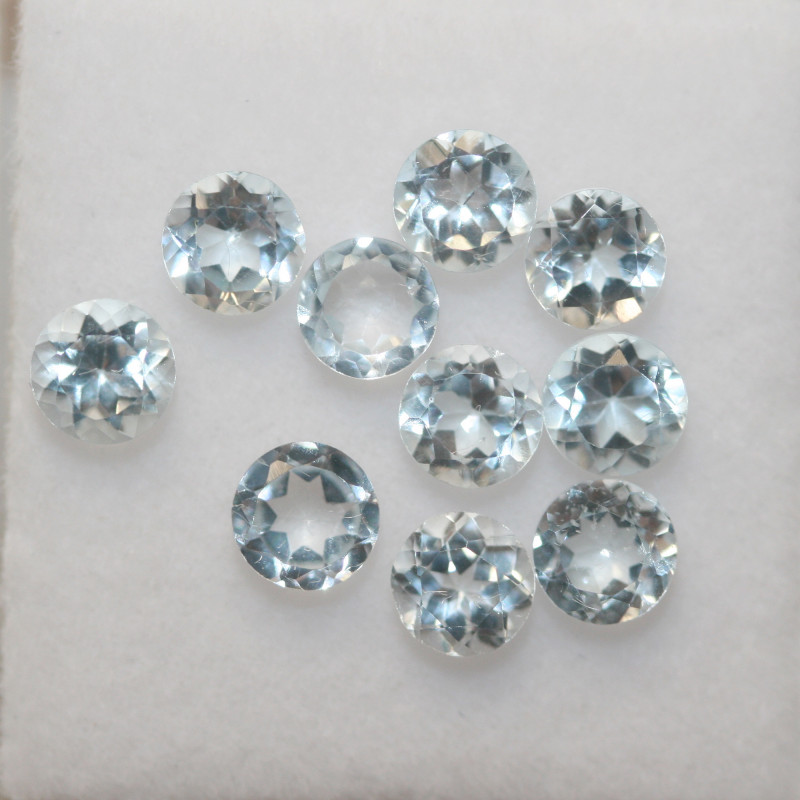 3.35 Ct Sky Blue Topaz Lot Faceted Round 4mm.(SKU 438)