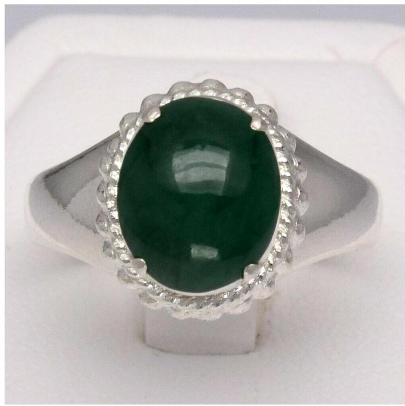 CERTIFICATE Incl.*5.01 Grams Natural Green Jade Ring in 96% Sterling Silver