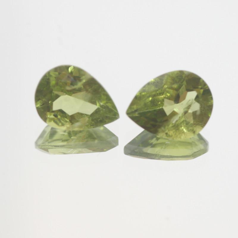 4.85 Ct Peridot Matching Pair Faceted Drop Cut 10x8mm.- Olivine Green.(SKU4