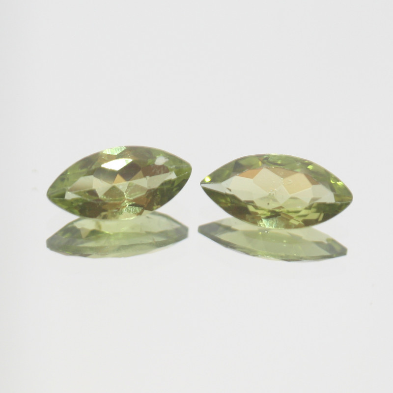 3.2 Ct Peridot Matching Pair Faceted Marquise Cut 12x6mm.- Olivine Green.(S