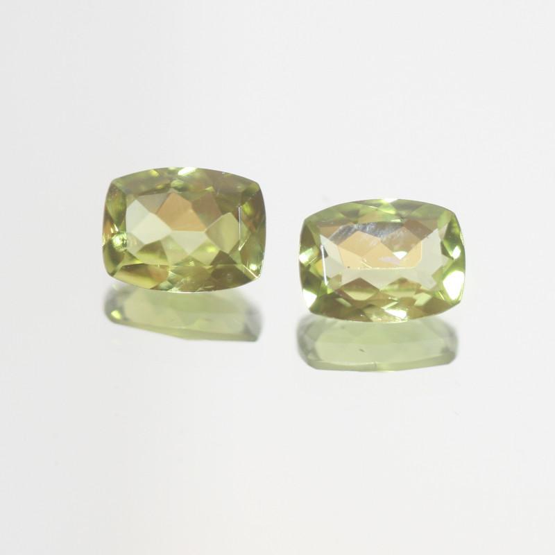 2.5 Ct Peridot Matching Pair Faceted Rectangular Cut 8x6mm.- Olivine Green.