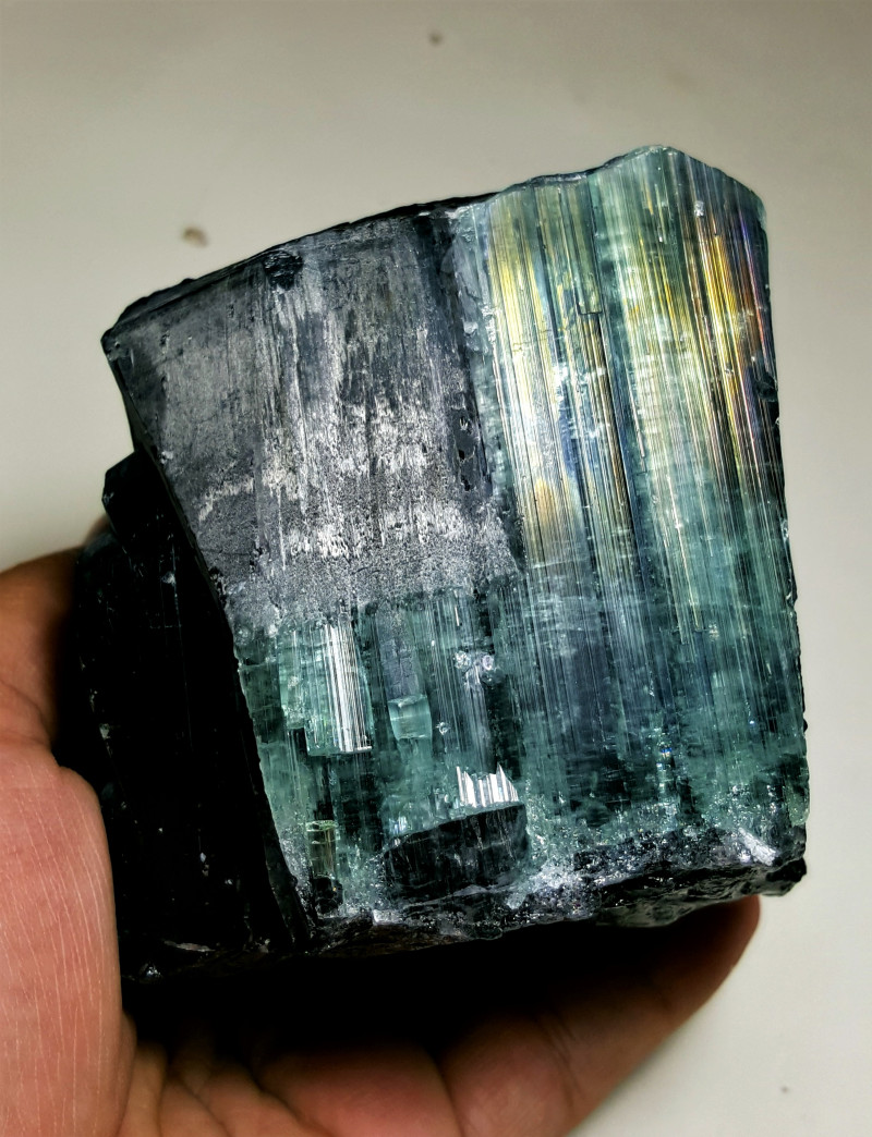 Amazing Natural Bicolor Huge Rainbow Tourmaline Piece good for carving 6380