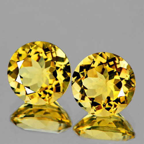 9.00 mm Round 2 pcs 5.01cts Golden Yellow Citrine [VVS]