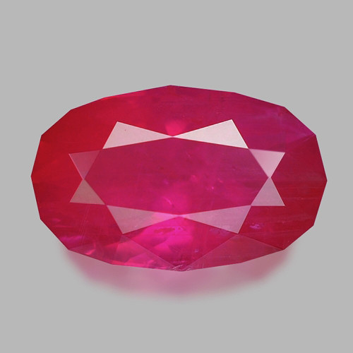 Exquisite custom precision oval cut natural Mozambican ruby.