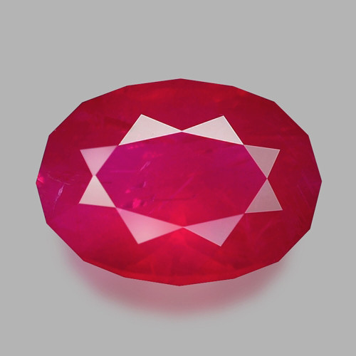 Custom precision oval cut natural Mozambican ruby.