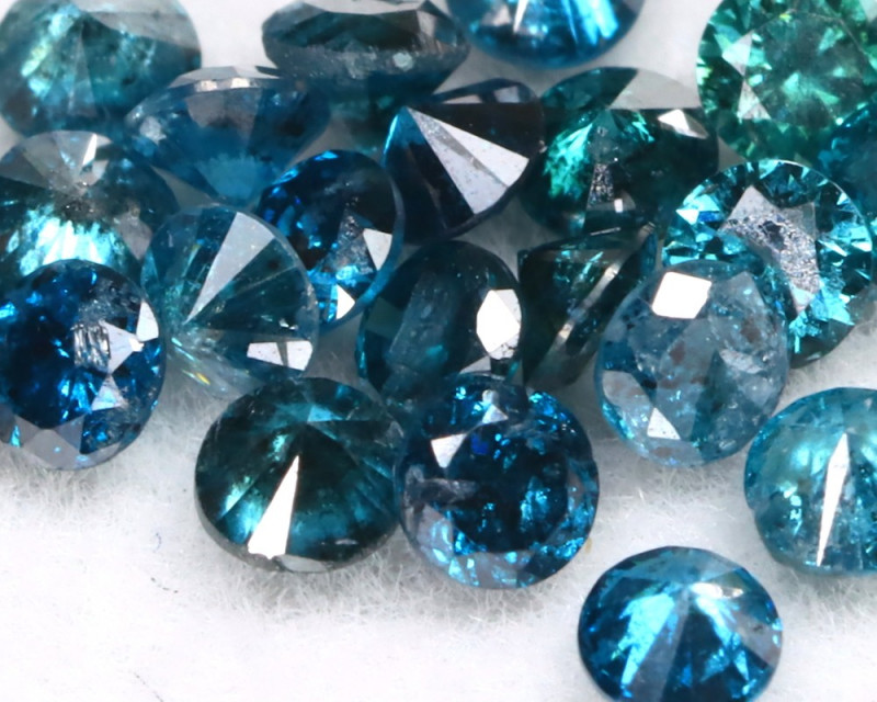 1.01Ct 2.1mm Natural Calibrate Size Vivid Titanic Blue Diamonnd Lot BM0357