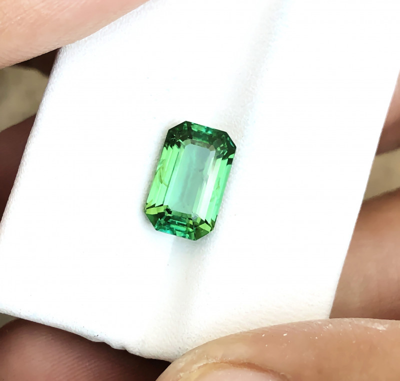 3.55 Ct Natural Green Transparent Tourmaline Ring Size Gemstone