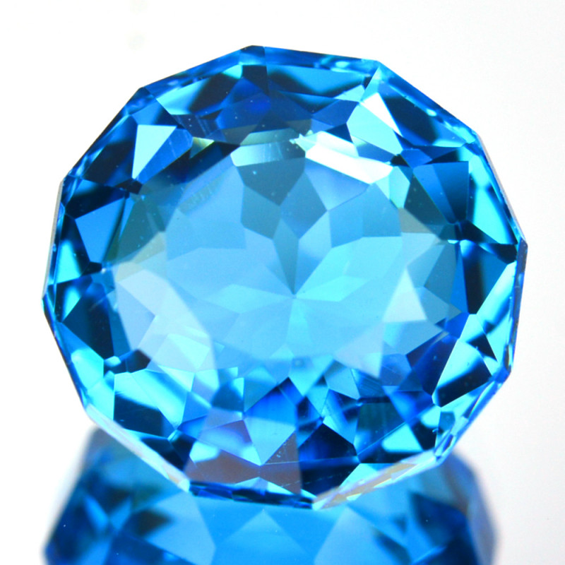 ~CUSTOM CUT~ 5.28 Cts Natural Swiss Blue Topaz Round Cut Brazil
