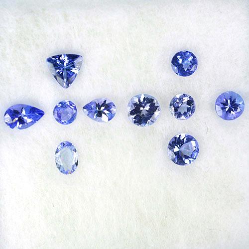 1.62 Cts Natural Purple Blue Tanzanite Mixed Shape 10Pcs Tanzania