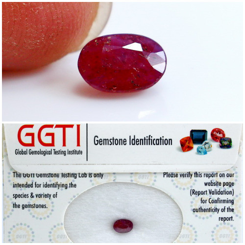 GGTI-Certified-1.40 ct Red Ruby Gemstone Natural
