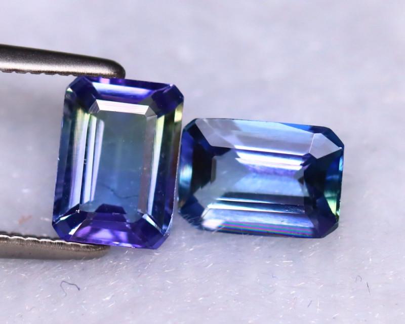 Tanzanite 1.99Ct 2Pcs Natural VVS Purplish Blue Tanzanite DR239/D3