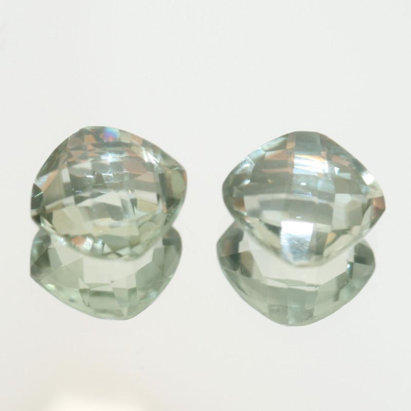 6.6 Ct Prasiolite  Cushion Pair  Square Faceted  cut 10mm.-(SKU 459)