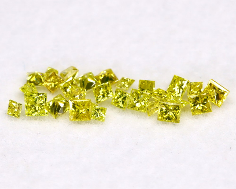 0.45Ct Natural Princess Cut Vivid Neon Yellow Diamonnd Lot BM0367
