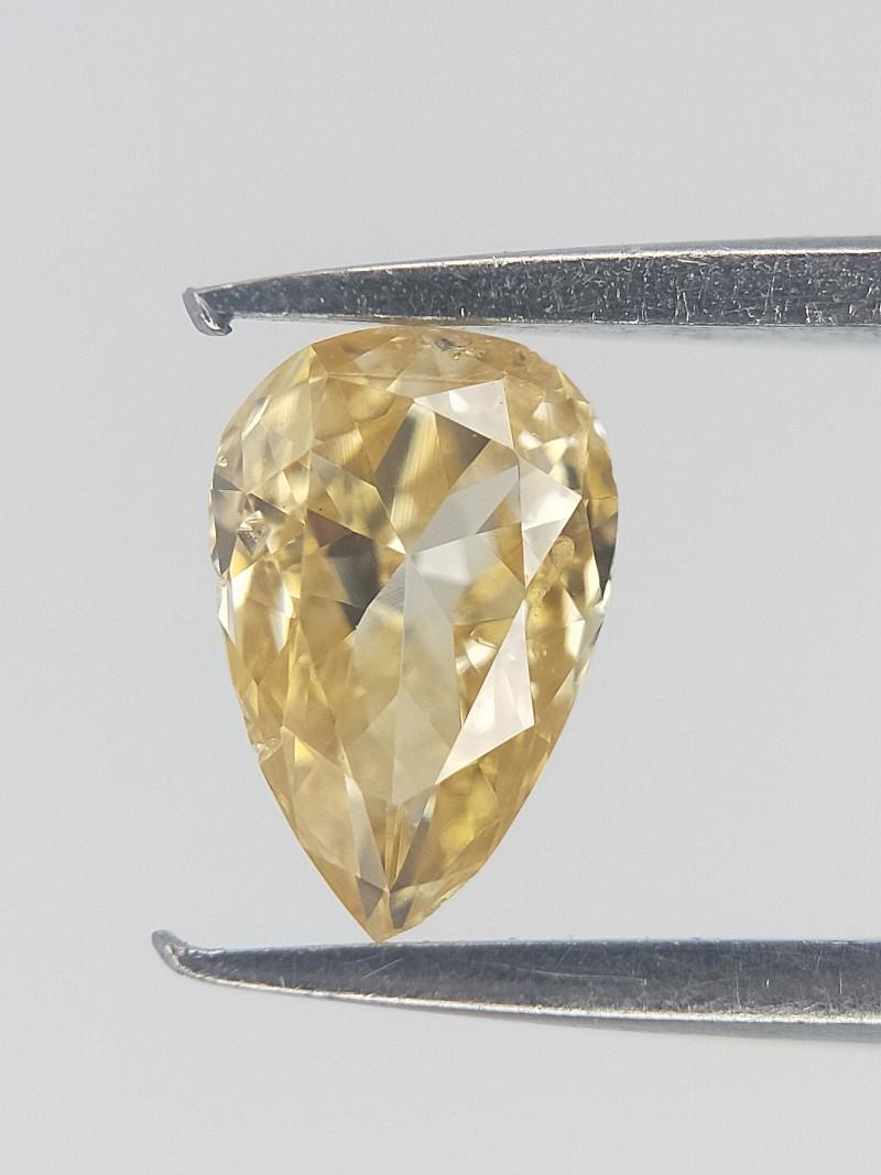 0.16 CTS , Pear Brilliant Cut Diamond , Champagne Yellow Diamond