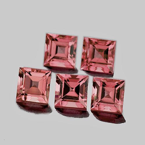 4.00 mm Square 5 pcs 1.76cts Padparadscha Pink Tourmaline [VVS]