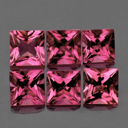 3.50 mm Square Princess 6 pcs 1.25cts Orange Pink Tourmaline [VVS]