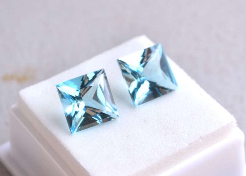 10.85 Carat Matched Pair of Princess Cut Sky Blue Topaz