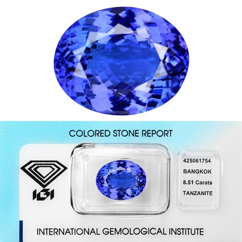 8.51 Cts IGI Certified Natural Bluish Violet  Color Tanzanite Loose Gemston